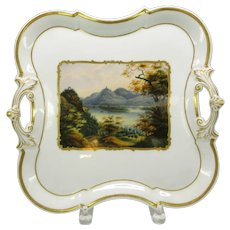 Dated 1850 fine hand painted scenic German porcelain handled tray