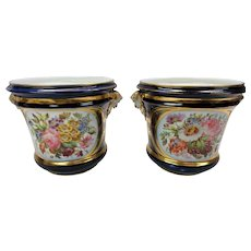Pair of 1860's hand painted Paris porcelain cache pots planters with flowers and Pan heads