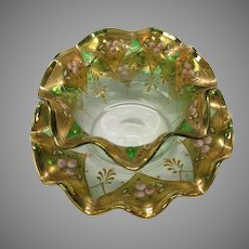 Antique Moser enameled green to clear glass finger bowl on tray or plate