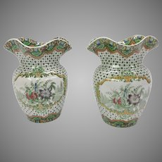 Pair antique Copeland Spode pottery transferware his & her toothbrush holders
