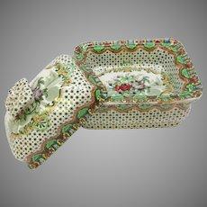 Antique Copeland Spode pottery Chintz transferware 3 piece soap holder