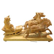 Big carved wood Black Forest bear in 3 horse drawn winter sleigh group statue