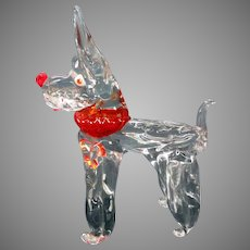 Vintage Barovier & Toso Murano glass Terrier dog figure 1940's