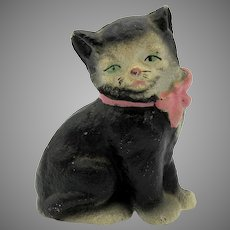 Vintage Hubley larger cast iron cat with pink bow paperweight figure in original paint