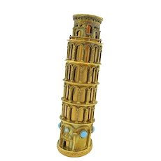 Silver gilt Leaning Tower of Pisa lipstick holder designed by Louis Nichilo