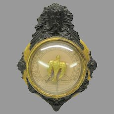Antique French figural gilded wood and gesso barometer with gilded bird dial