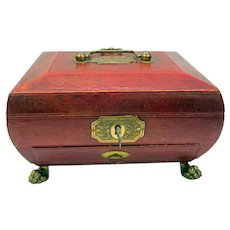 Regency period paw footed sewing box casket with key and secret drawer