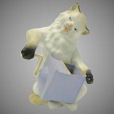 Victorian German bisque cat with coffee grinder spill vase