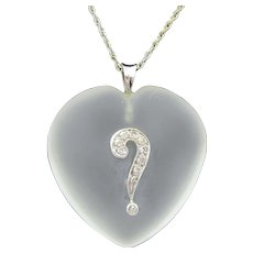 """Vintage 14k gold crystal and diamond heart pendant with """"?"""" symbol"""