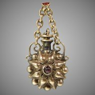 Victorian solid 14k gold miniature Fashion doll perfume bottle for chatelaine
