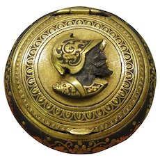 19th Century Damascene snuff box with raised portrait