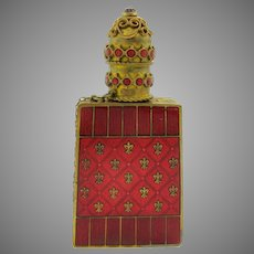 Vintage jeweled enamel Czech pocket book  perfume bottle