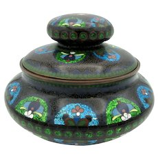Large antique Chinese cloisonne tobacco jar humidor