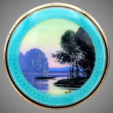 Luminescent lake scene Art Deco silver & enamel powder compact artist signed