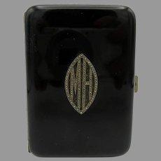 High Art Deco black & silver enameled cigarette case with marcasite monogram M.H