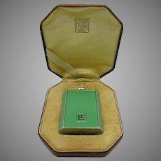 Lucien Lelong Art Deco face powder flask compact in original box mint condition