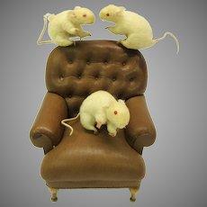 Set of antique 3 blind mice German spun cotton Christmas ornaments-just charming!