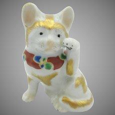 Vintage cabinet sized Japanese Kutani porcelain Maneki Neko cat