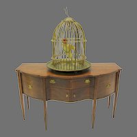 Large antique ormolu doll house miniature bird cage with wax parrot