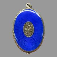 Large antique French silver & guilloche enamel swivel mirror pendant
