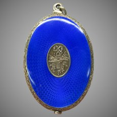 Large antique French silver & guilloche enamel swivel mirror pendant