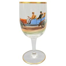 1900's Finely hand enameled wine glass stem with early touring Motor car automobile  #2