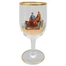 1900's Finely hand enameled wine glass stem with early touring Motor car automobile  #3
