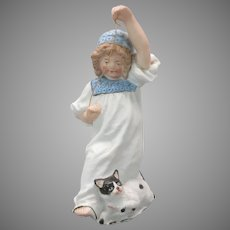 Heubach German bisque figurine Girl with cat