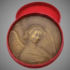 1914 signed French bronze medallion Guardian Angel of Notre Dame Bombing of cathedral #1