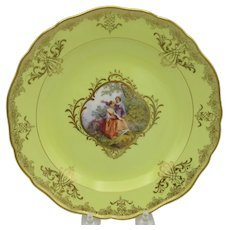 Finest quality early Meissen porcelain portrait plate with yellow ground #1