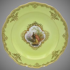 Finest quality early Meissen porcelain portrait plate with yellow ground #2