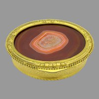 Large antique gilded metal dresser box with agate stone top