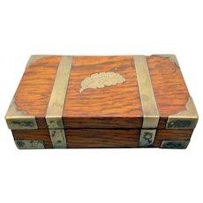 Miniature lap desk writing box form brass bound box engraved Charter Oak