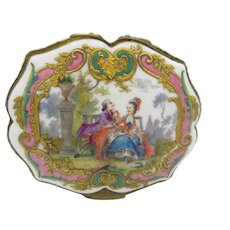 Larger antique French porcelain dresser trinket box with romantic scene