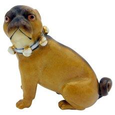 Antique porcelain Pug dog cabinet figurine with bells collar