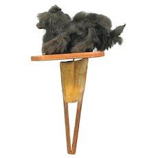 Large antique French fur covered jumping dog mechanical hand toy