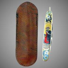 Antique signed decorated Swedish pocket pen knife in original leather case