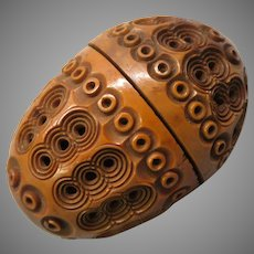 Victorian pierced carved root sewing egg box