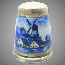 Antique Dutch scene silver & enamel thimble