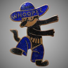 Vintage Krazy Kat Cowboy enamel pin Whoopee