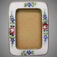 Antique Doll house miniature enamel picture photo frame