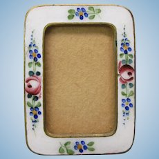 Antique Doll house miniature enamel picture photo frame
