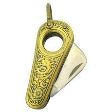 Victorian Damascene inlaid cigar cutter for watch chain