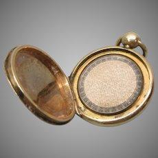 Tiny Georgian 9k gold locket pendant with full Apostles Creed prayer inside
