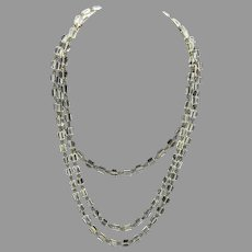 Vintage Art Deco crystal flapper necklace 54 inches long