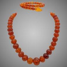 Vintage faceted crackle amber necklace with matching snake bracelet