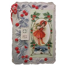 1912 Antique stand up paper Christmas calendar Girl with holly