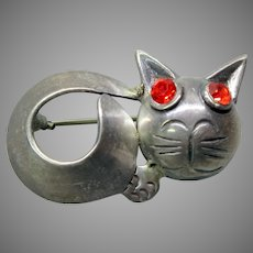 Mid Century Modern Mexican sterling silver cat brooch signed Parra