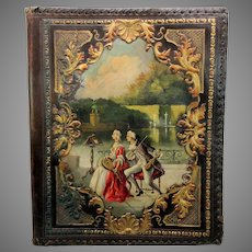 1900's Large embossed leather sheet music holder with painted scene