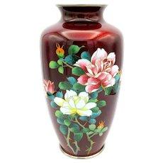 """Large 10"""" tall vintage Japanese Ginbari cloisonne vase"""